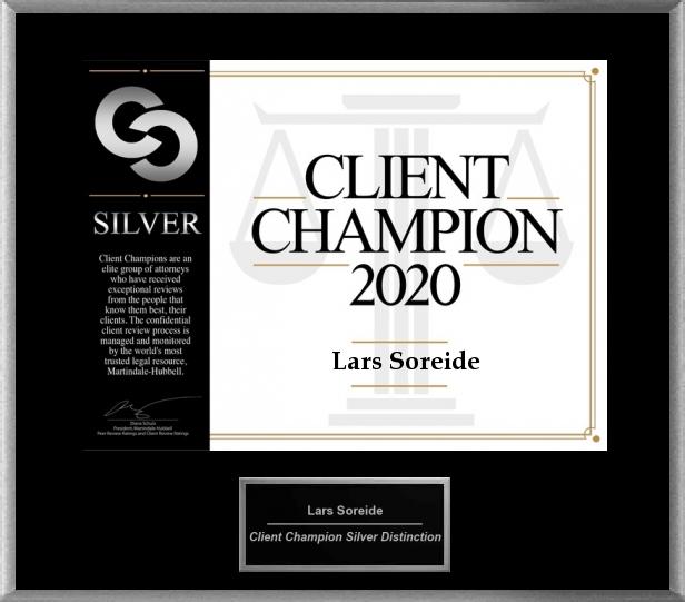 client champion 2020 silver, soreide law group